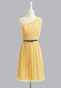 Hot-selling One- shoulder Knee-length Chiffon Belt Bridesmaid Dress