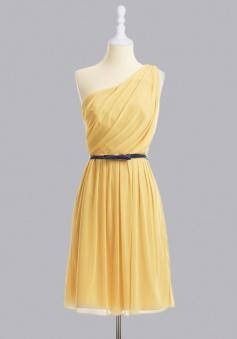 Hot-selling One- shoulder Knee-length Chiffon Belt Bridesmaid Dress