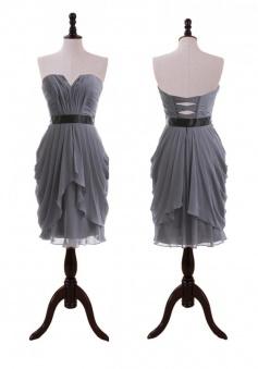 Hot-selling Column Sweetheart Knee-length Chiffon Sash Bridesmaid Dress