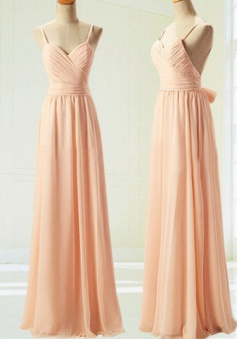 A-Line Spaghetti Straps backless Long Peach Chiffon Prom/Bridesmaid Dress