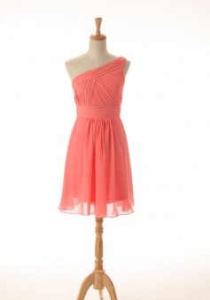 A-line One-shoulder Ruched Knee-length Chiffon Bridesmaid Dress