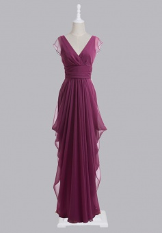 Latest Sheath/Column V-neck Chiffon Bridesmaid Dress