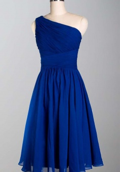 Simple Royal Blue One Shoulder Knee Length A Line Chiffon Bridesmaid Dress CHBD-80054