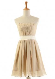 Latest A-line Strapless Knee-Length Chiffon Bridesmaid Dresses CHDT100071