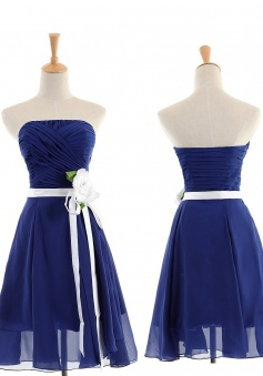 Best A-line Strapless Knee-Length Chiffon Bridesmaid Dresses CHDT100094