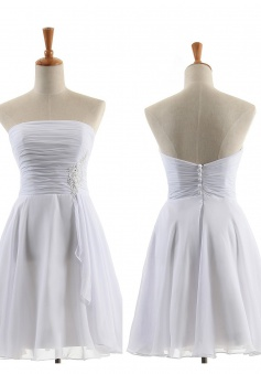 Hot Sale A-line Strapless Knee-Length Chiffon Bridesmaid Dresses CHDT100098