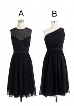 Different Styles Black Short Knee Length Chiffon A Line Bridesmaid Dress CHBD-80045
