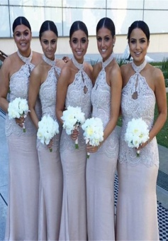 Elegant & Sexy Halter Appliques Champagne Sheath Long Bridesmaid Dresses Formal CHBD-70894
