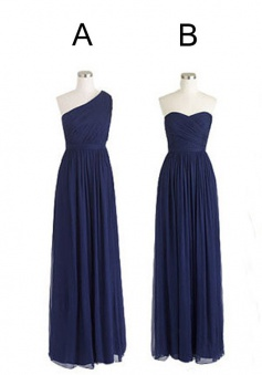 Various Styles Navy Blue A Line Chiffon Long Bridesmaid Dress CHBD-80044