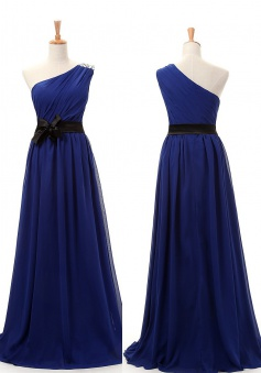 Simple A-line One Shoulder Long Royal Blue Bridesmaid Dresses LADT100023