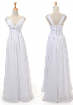 Hot Selling A-line V-neck Floor Length White Bridesmaid Dress With Beading Bridesmaid Dresses CHDT100045