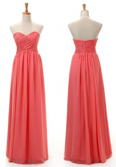 New Arrival A-line Sweetheart Floor-length Chiffon Bridesmaid Dresses CHDT100052