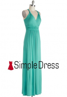 Blue V Neck Open Back Criss Cross A Line Long Bridesmaid Dress CHDB-80066