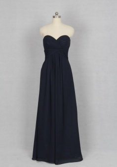 Black Sweetheart Pleats A Line Chiffon Long Bridesmaid Dress CHBD-80070