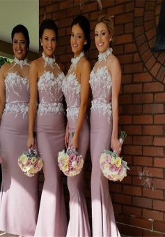 Elegant High Neck Appliques Purple Sheath Bridesmaid  Dress