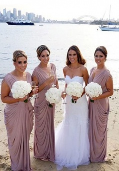 Modern V-neck Ruffles Long Champagne Bridesmaid Dresses Bridesmaid Gowns CHBD-70898