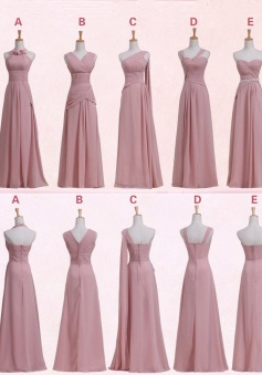 Elegant Floor- Length Sleeveless Pink Chiffon Bridesmaid Dress CHBD-7096
