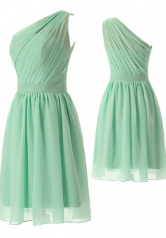 Simple-dress 2015 Fashion A-line One-shoulder Sleeveless Knee-length Ruched Chiffon Bridesmaid Dress CHBD-81193