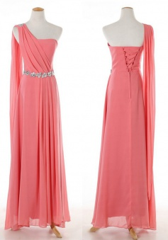 Elegant One-shoulder Beaded Long Chiffon Pink Bridesmaid Dress