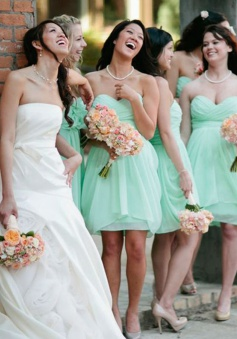 Hot Selling Short Sweetheart Chiffon Ruched Mint Bridesmaid Dress