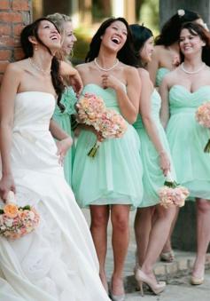 Hot Selling Short Sweetheart Chiffon Ruched Mint Bridesmaid Dress