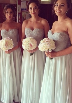 Elegant Sweetheart Floor-Length Chiffon Bridesmaid Dress