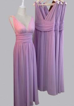 V-neck Long Chiffon Lavender Bridesmaid Dress/Wedding Party Dress