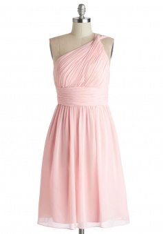 Simple Dress  A-line One-shoulder Pink Chiffon Bridesmaid Dresses, Wedding Reception Dresses  CHPD-7130