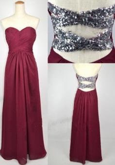 Simple Dress Elegant Sweetheart Burgundy Long Chiffon Prom Dresses/Bridesmaid Dresses/Party Dresses  CHPD-7184
