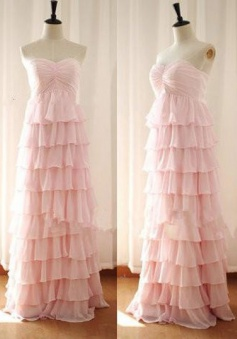 Elegant A-line Sweetheart Floor Length Frill Chiffon Ruched Bridesmaid Dress