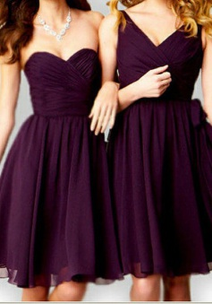 Fabulous A-line Short Grape Bridesmaid Wedding Party Dress