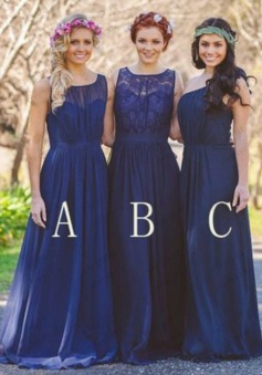 Hot-selling A-line Scoop/One-shoulder Chiffon Bridesmaid Dress