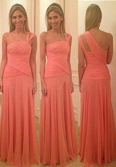 A-line One-shoulder Chiffon Long Bridesmaid Dress