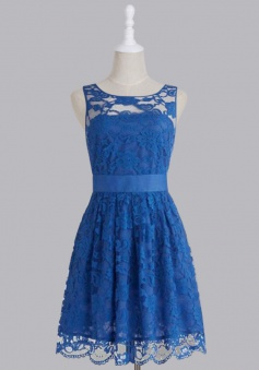 Hot Sale Royal Blue Scoop Lace Short Knee Length Bridesmaid Dress