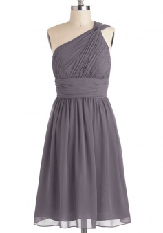 Simple Dress A-line One-shoulder Elegant Chiffon Bridesmaid Dresses, Wedding Reception Dresses CHPD-7131