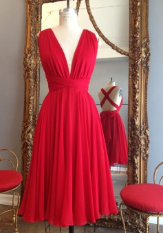 Simple Dress Handmade Short Red Chiffon Backless Criss Cross Dresses/Wedding Party Dresses  CHBD-7190