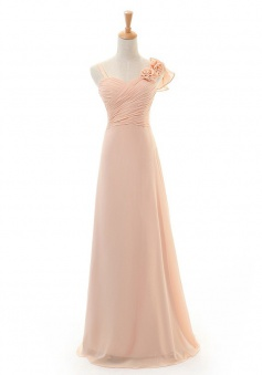 Elegant Long Handmade Flowers Chiffon Bridesmaid Dress