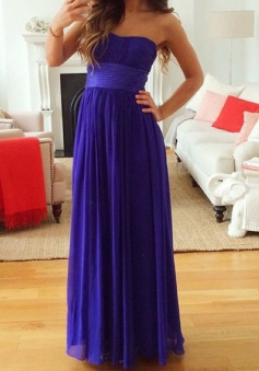 Elegant A-line Sweetheart Floor Length Chiffon Bridesmaid Dress