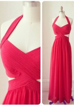 Elegant Halter Long Chiffon Ruched Prom Bridesmaid Dress
