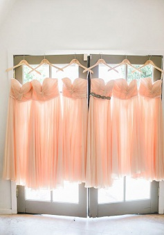 Elegant Sweetheart Long Peach Chiffon Bridesmaid Dress