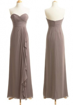 Elegant Sweetheart Long Chiffon Gray Bridesmaid Dress Ruched with Ruffles