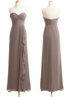 Elegant Sweetheart Long Chiffon Gray Bridesmaid Dress Ruched with Ruffles