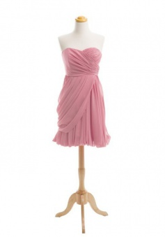 Hot-selling Sweetheart Short Chiffon Bridesmaid Dress Ruched