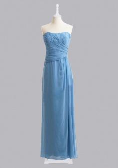 Fashion A-line Strapless Ruched Chiffon Bridesmaid Dress