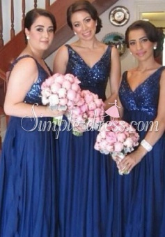 Modern A-line V-neck Floor-length Chiffon Sequins Bridesmaid Dress