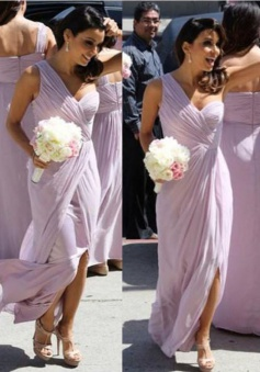 Aline Sweetheart One-shoulder Slit Chiffon Bridesmaid Dress