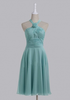 Elegant Halter A-line Zipper-up Tea-length Chiffon Bridesmaid Dress