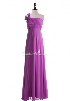 Hot-selling A-line One-Shoulder Ruched Zipper-up Chiffon Long Bridesmaid Dress