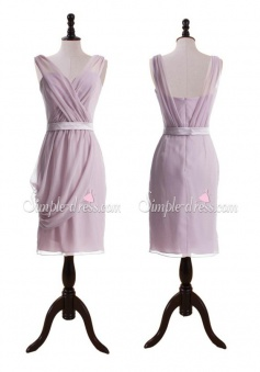 Elegant Column Knee-length V-neck Sash Chiffon Bridesmaid Dress