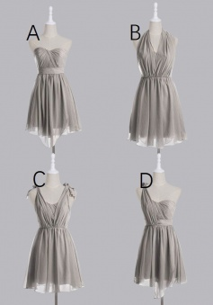 Simple A-line Knee-length Mismatch Chiffon Bridesmaid/Party Dress